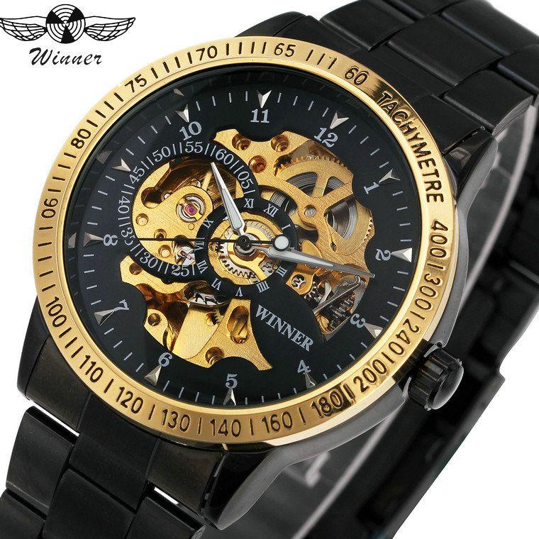 2018 WINNER Men Automatic Mechanical Watch Stainless Steel Watchband Men Wristwatch Golden Skeleton <font><b>Dial</b></font> Top Luxury Brand +BOX