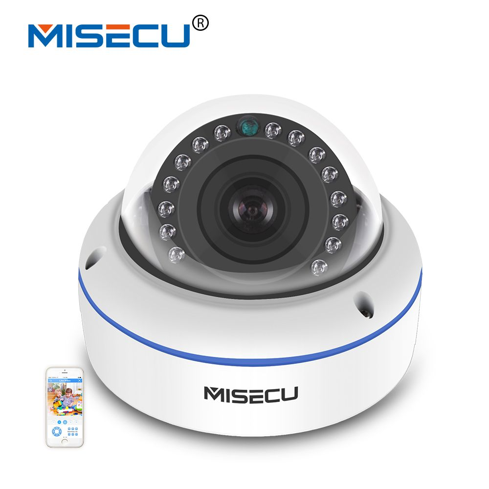 MISECU 48V POE HI3516C+SONY IMX322 H.265/H.264 IP Camera 2.8mm Vandalproof 2.0MP Surveillance Video Dome Camera Full HD ONVIF