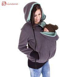 La grossesse vêtements laine bébé portant De Maternité manteau femmes à capuche porte-bébé kangourou survêtement Manteau pour Les Femmes Enceintes