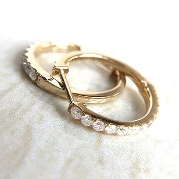 Genuine14K 585 Yellow Gold Mini Huggie Earrings Test Positive Lab Grown F Grade Moissanite Diamond Earrings For Women