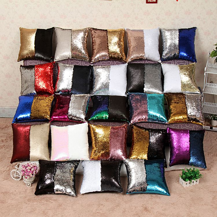 New Year Decoration Covers For sofa sequins throw pillows Christmas Halloween mermaid pillow cushion covers square pillowcases