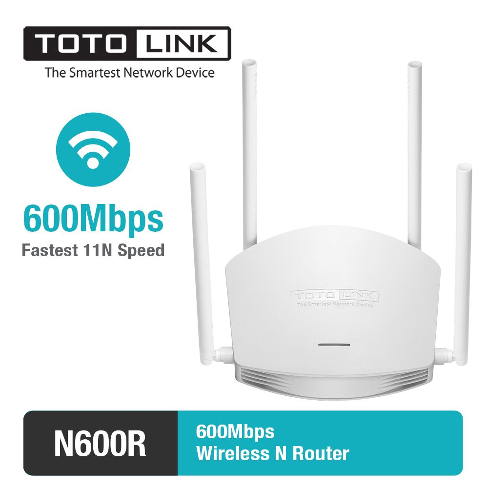 TOTOLINK N600R 600Mbps WiFi Router with Wireless Repeater and AP in One, 4 Antennas, Turbo WiFi Coverage Expension