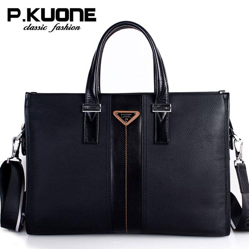 P. Kuone Marke Männer Tasche Aus Echtem Leder Handtasche Geschäftsleute Aktentasche laptoptasche schultertasche