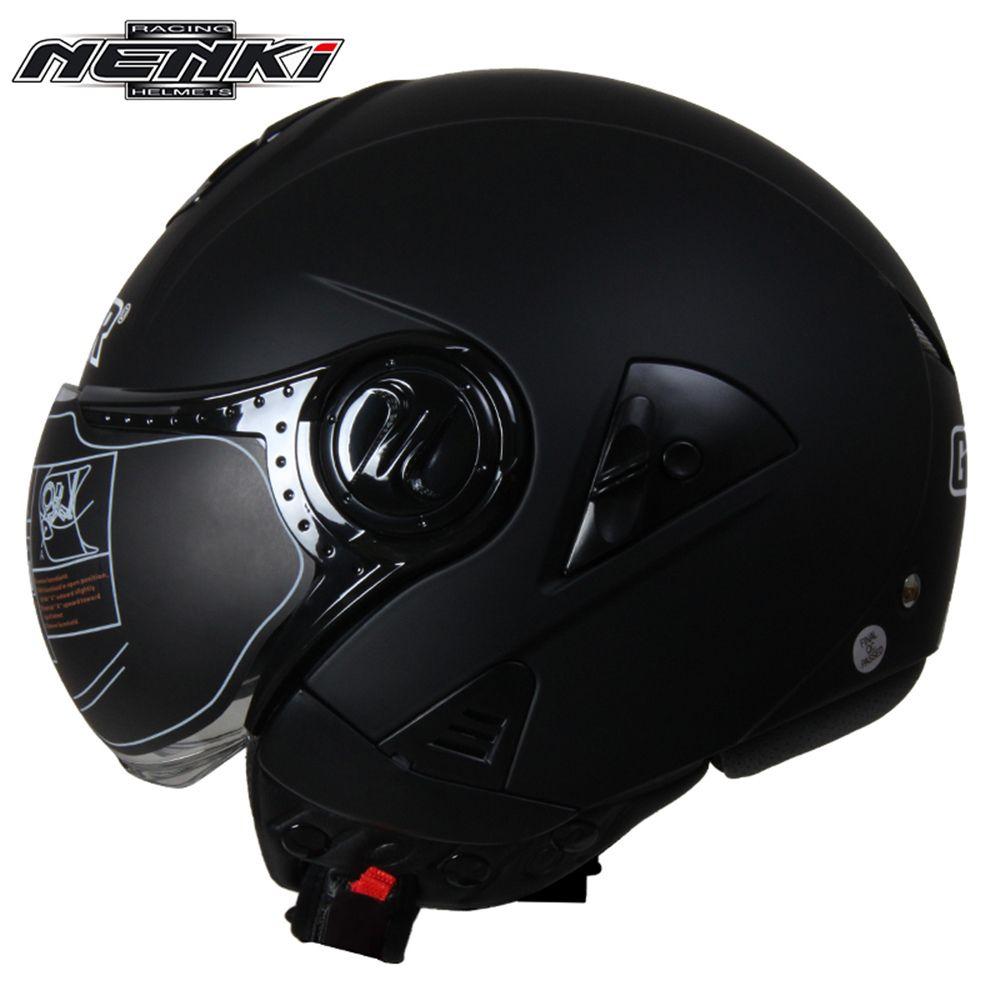 NENKI Electric Motorcycle Helmet Vintage Style Cruiser Touring Chopper Street Bike Scooter Helmet with Clear Lens Shield 622