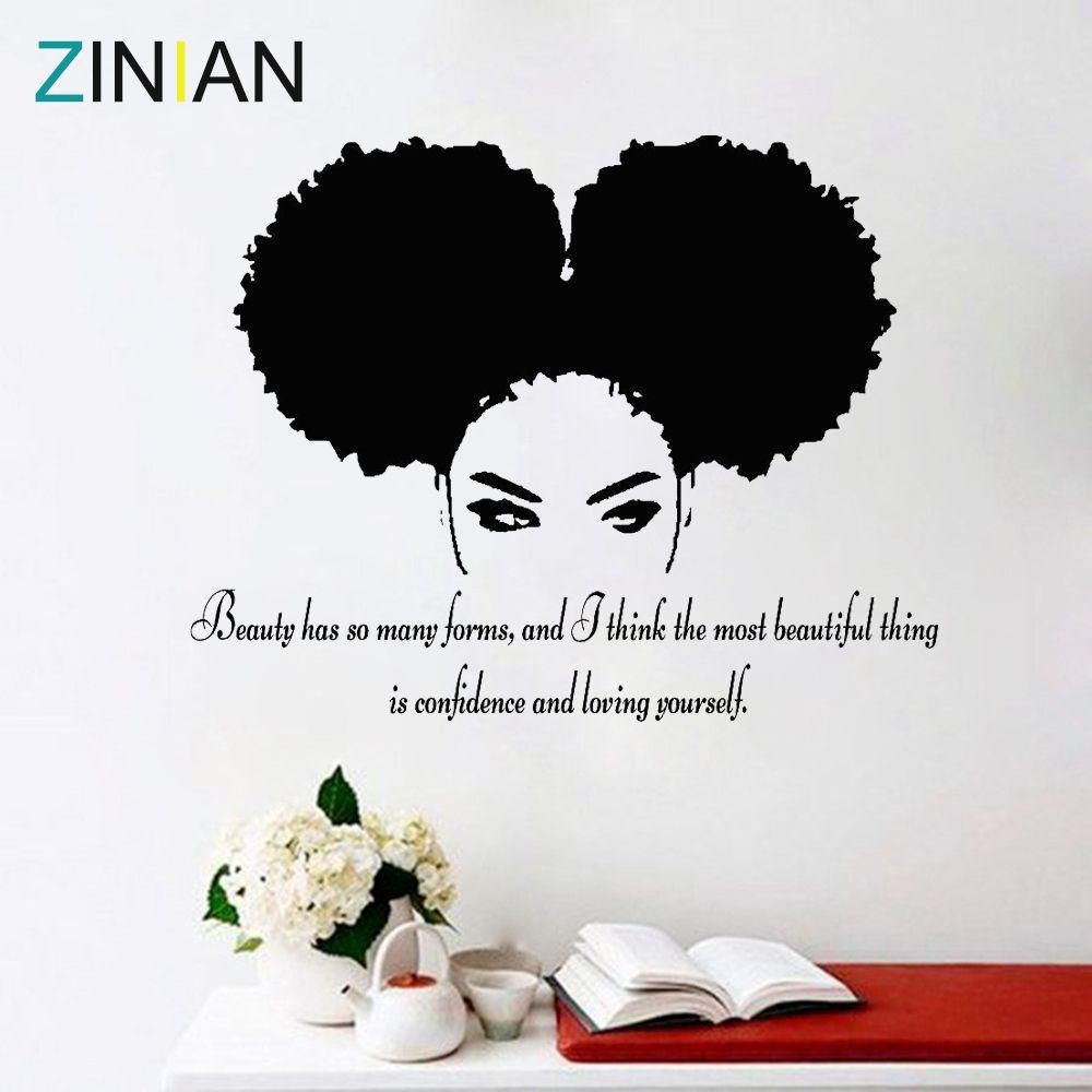 Tribal Femme Africaine Décalque Beauté Devis Belle Afro Fille Décor À La Maison Salon Chambre Confiance Stickers Muraux Salon Z900
