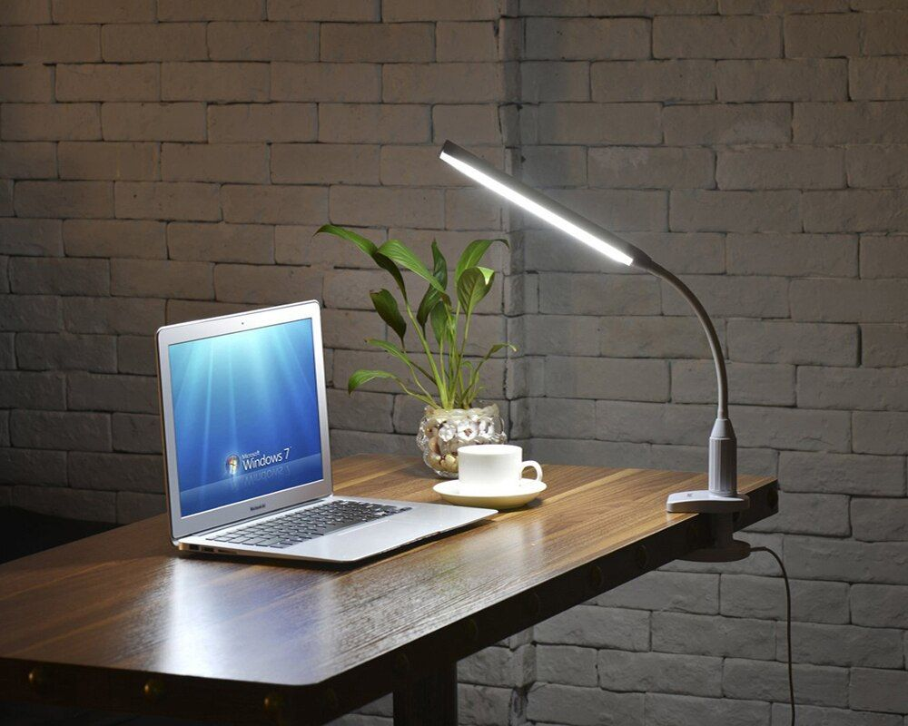 Table Lamp 5W 24 LEDs Eye Protect Clamp Clip Light Desk Lamp Stepless Dimmable Bendable USB Powered Touch Sensor Control