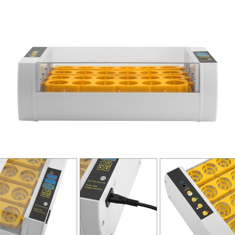 Large Capacity Practical 24 Eggs Mini Incubator For Chicken Poultry Quail Turkey Eggs Home Use Automatic Egg Turning