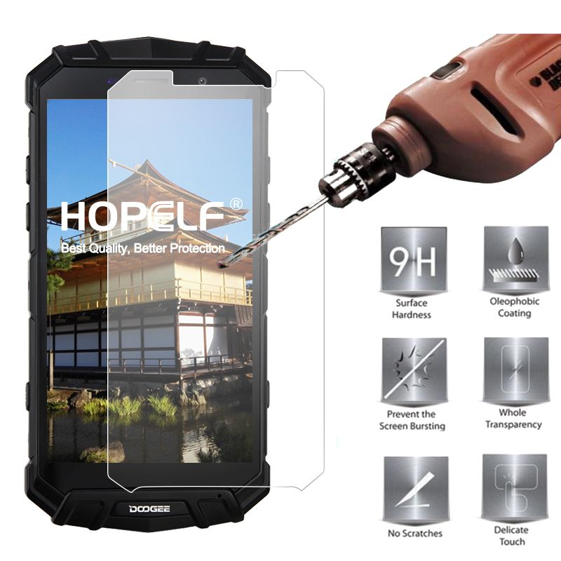 HOPELF Tempered Glass for Doogee S60 Screen Protector 9H 2.5D Phone Protective Film Glass for Doogee S60