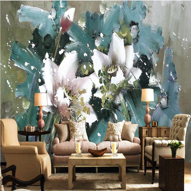 Пользовательские 3D настенные фрески Европейский обои картина маслом цветы фон обои для стен 3d спальня Home Decor 3D обои