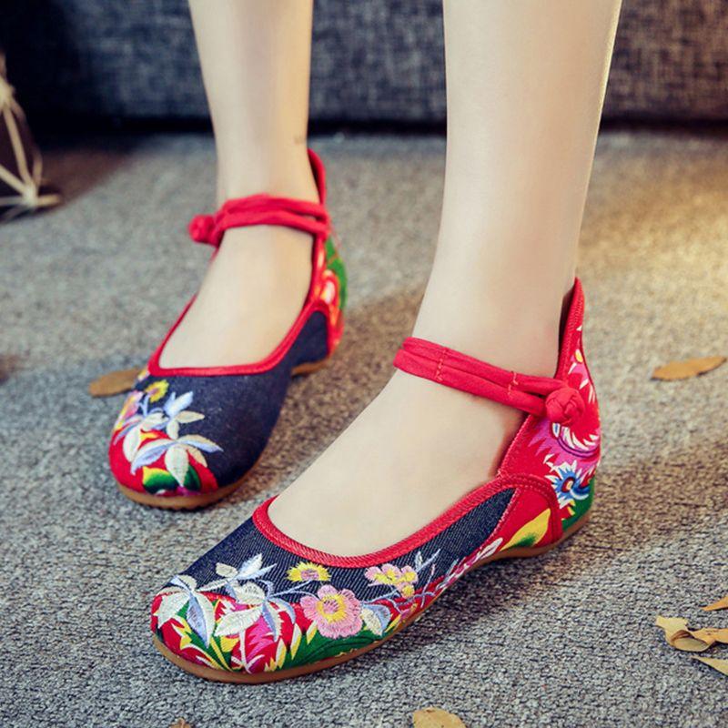 Telosma Кордата цветы моды с вышивкой женская обувь на плоской подошве пикантные винтажные Мэри Джейн туфли-оксфорды женская китайская повсед...