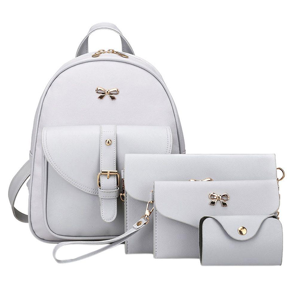 <font><b>4pcs</b></font>/set PU Leather Bowknot Backpack Women Shoulder Bag Clutch Bag Female Back Pack Leather Backpack Rucksack Bowknot Backpacks