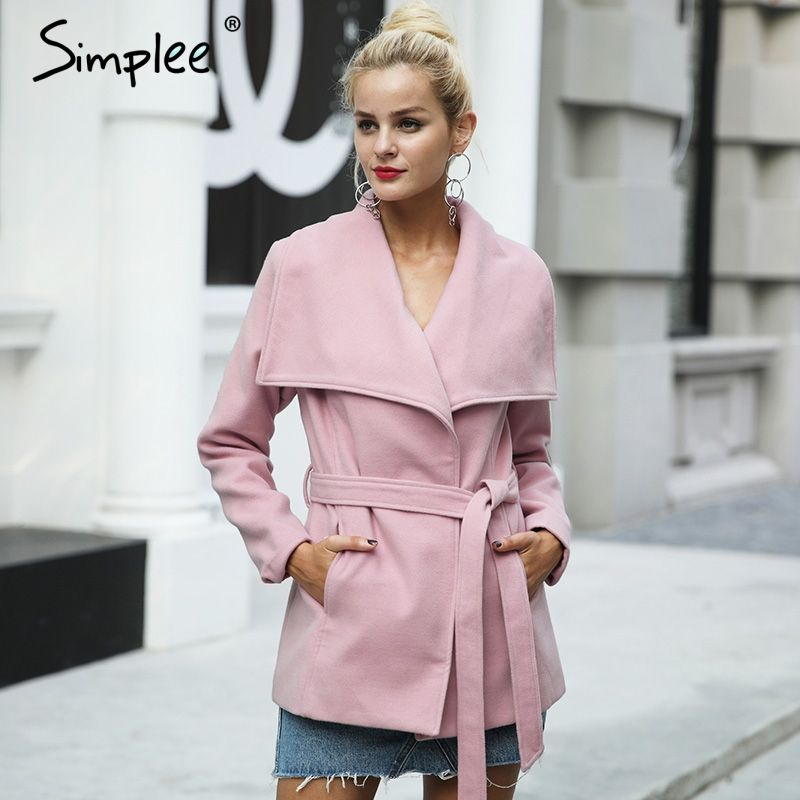 Simplee Wool blend sashes winter coat women Casual wool jacket female coat autumn Loose turn down short overcoat femme 2017