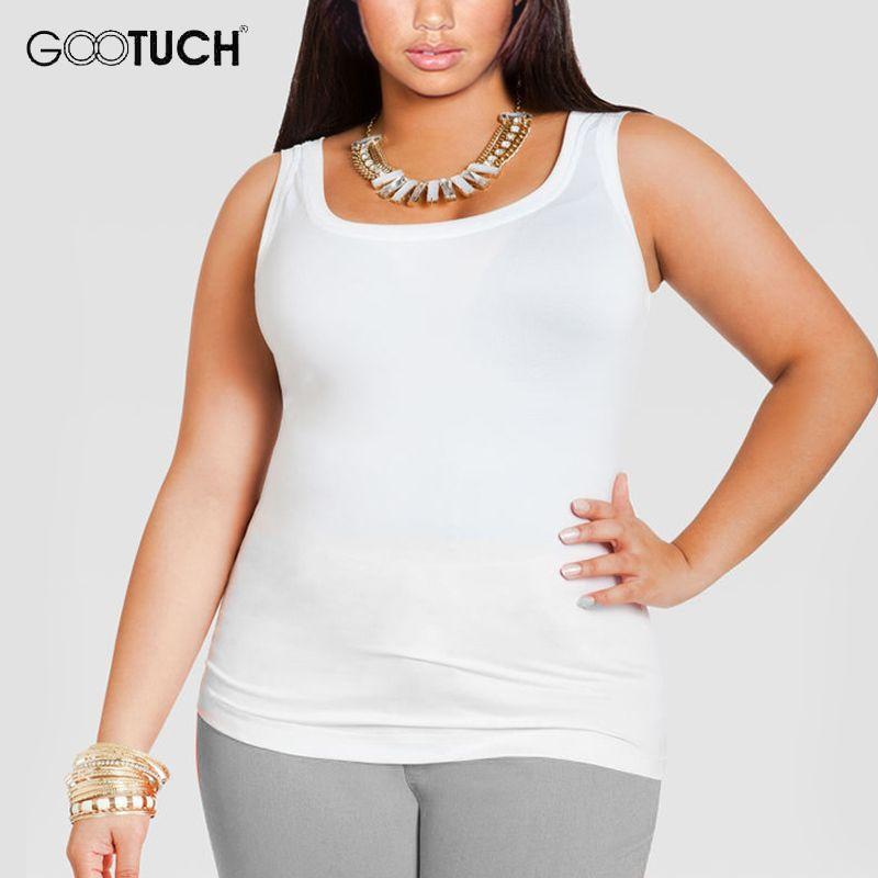 Femmes Coton Débardeurs Plus La Taille 4XL 5XL 6XL de Femmes Sans Manches T Shirt Grande Taille Maillot Dames Sexy Blanc singulet 049A