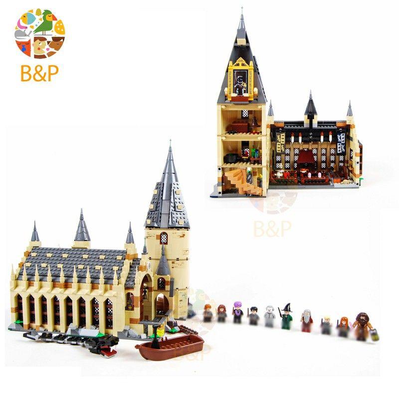 Harri Potter Le Legoing 75954 Poudlard Grande Muraille Ensemble Modèle Blocs de construction Maison Enfants Jouet pour le Cadeau D'anniversaire