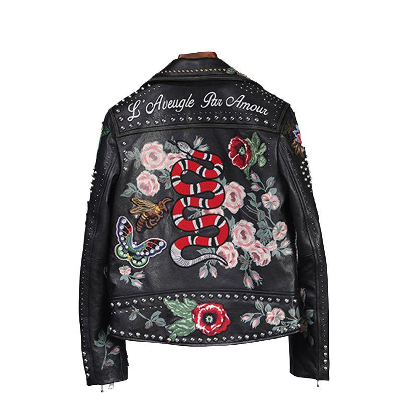 100% frauen hohe qualität leder jacke stickerei lokomotive leder jacke handgemachte 200 niet mantel Blumen vogel muster outwear