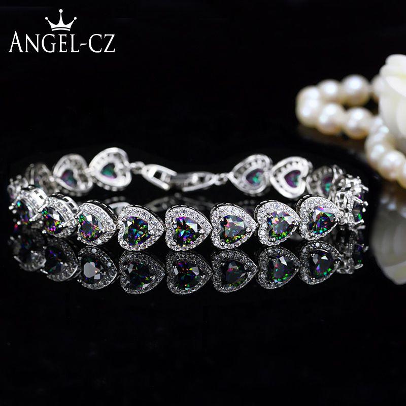 ANGELCZ Nigérian Africaine Style Spécial Multicolore Coeur Cristal Autrichien Pave Femmes Sterling Argent Main Bracelets Bracelets AB037