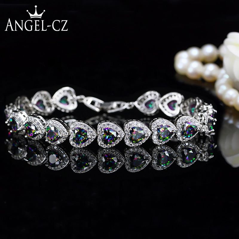 ANGELCZ nigérian Style africain spécial multicolore coeur autrichien cristal pavé femmes en argent Sterling Bracelets à main Bracelets AB037