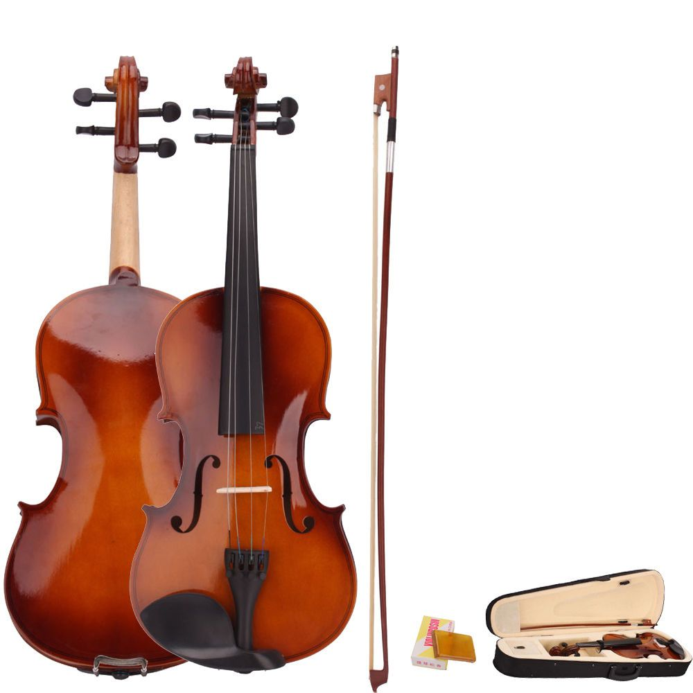 4/4 Full Size Natural Acoustic Violin Fiddle with Case Bow Rosin Violin Fiddle for Beginner with Case Rosin Wiper Gift