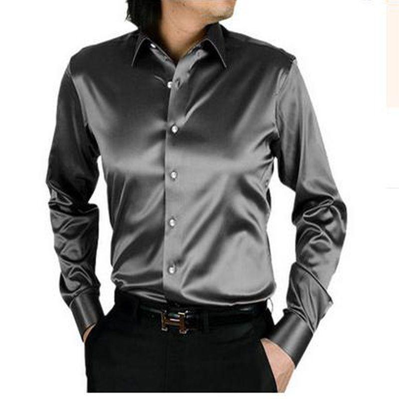 2017 long sleeve autumn spring thin fashion loose casual silk men dress shirt plus size plus size  soft male good quality top