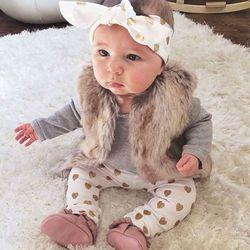 Nouveau-né bébé bebe Infantile fille vêtements À manches Longues gris rouge coeur Tops Goldden Amour Pantalon Bandeau 3 Pcs Bébé Filles Vêtements ensembles
