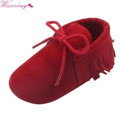 2018 bebé niños niñas mocasines Moccs Zapatos primeros caminantes Bebe Fringe Soft Soled calzado antideslizante PU cuero cuna zapatos