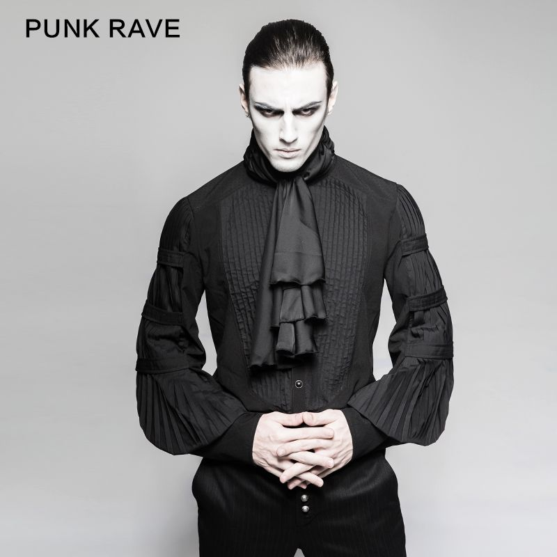 2018 mode Punk rave Gentleman Steampunk Hemd mit Krawatte Gothic Schwarz Top Abend Shirt Y752
