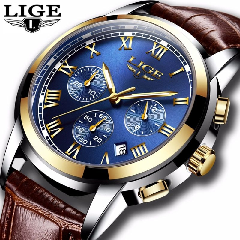 2018 New LIGE Mens Watches Top Brand Luxury Men's Fashion Business Watch Men Leather Waterproof Quartz Clock Relogio Masculino