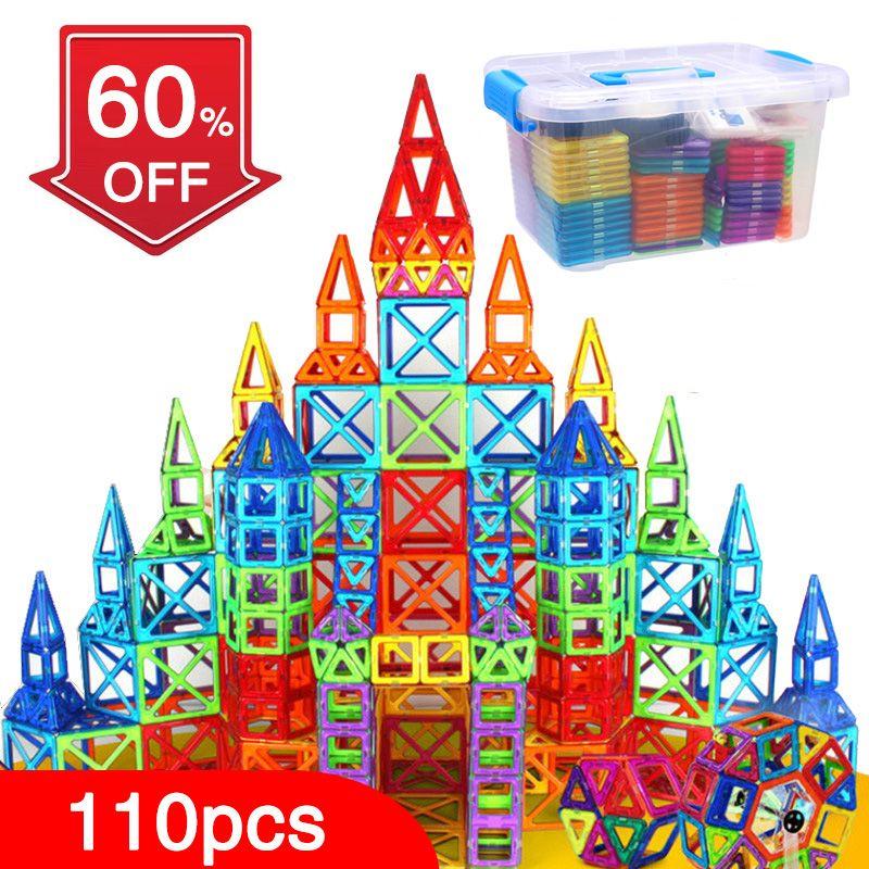 BD 110 pcs Blocs Magnétiques Magnétiques Concepteur Construction Jouets Ensemble Aimant Jouets Éducatifs Pour Enfants Enfants Cadeau