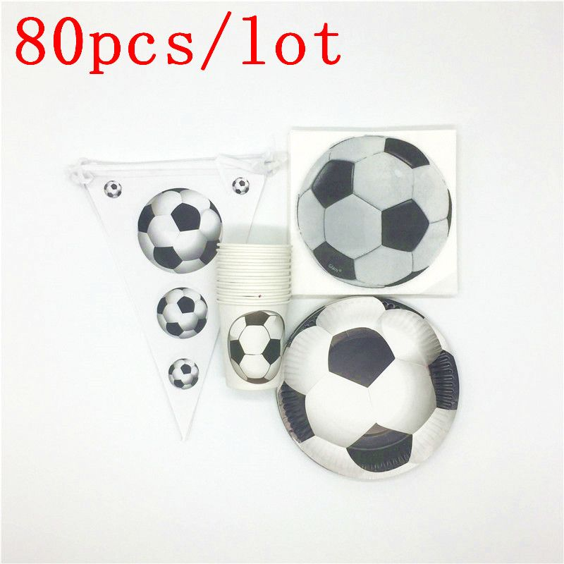 80 teile/los Pop Weiß Fußball Thema Design Papier Tasse Platte Serviette Flagge Thema Party Dekoration Kinder Geburtstag Party Versorgung Banner