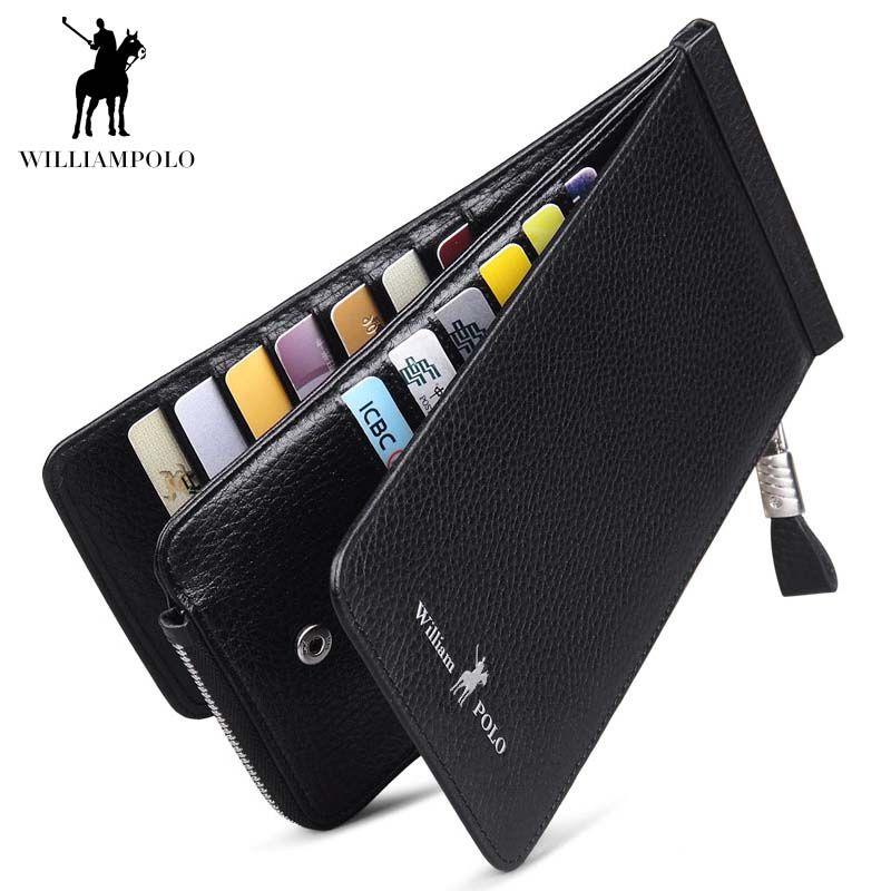 Männer Brieftasche Aus Echtem Leder Karte Halter für Männer Bank Kreditkarte ID Halter Marke Große Kapazität Luxus Karte Fall POLO139