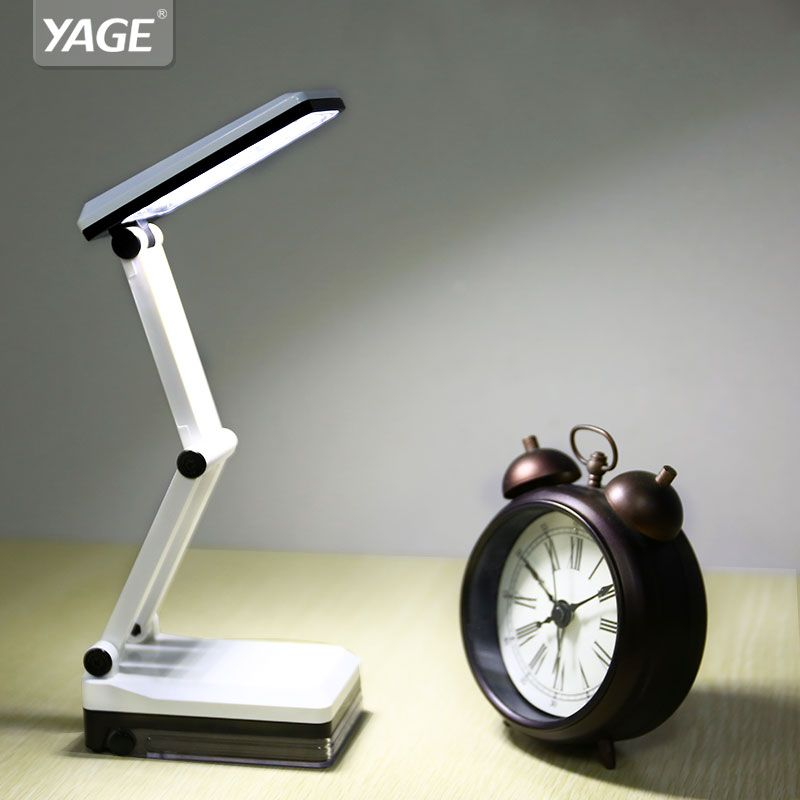 Foldable and Adjustable Eyecare Built-in Rechargeable 600mAh Battery Mini Reading 16 LED Dimmable Desk /Table Lamp-YAGE 5908