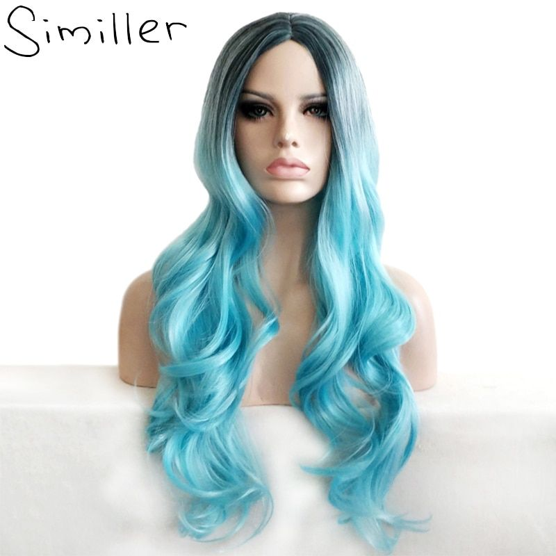 Similler Ombre Color Heat Resistant Synthetic Wavy Turquoise Blue Long Cosplay Wigs For Party Afro Women
