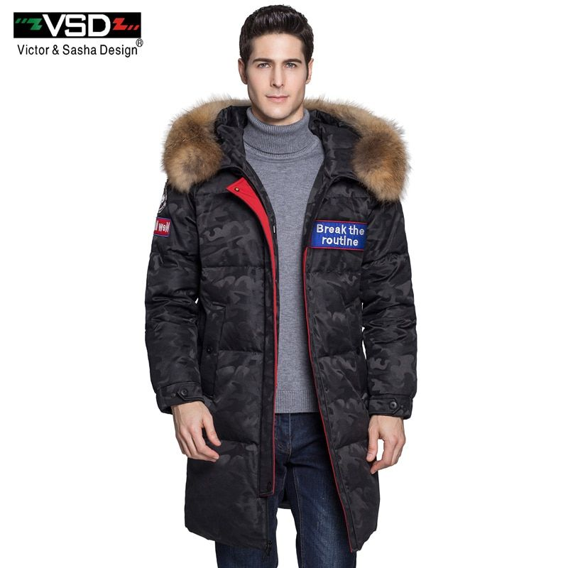 VSD Winter New Duck Down Jacket Real Fur Collar Men's and Women's Camouflage Clothing Casual Jackets Thicken Warm Parkas VSD-980