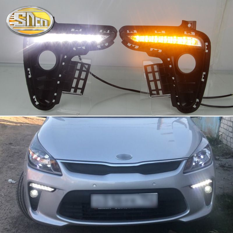 For Kia Rio K2 2017 2018 Yellow Turning Signal Style Relay Waterproof ABS Car DRL 12V LED Daytime Running Light Daylight SNCN