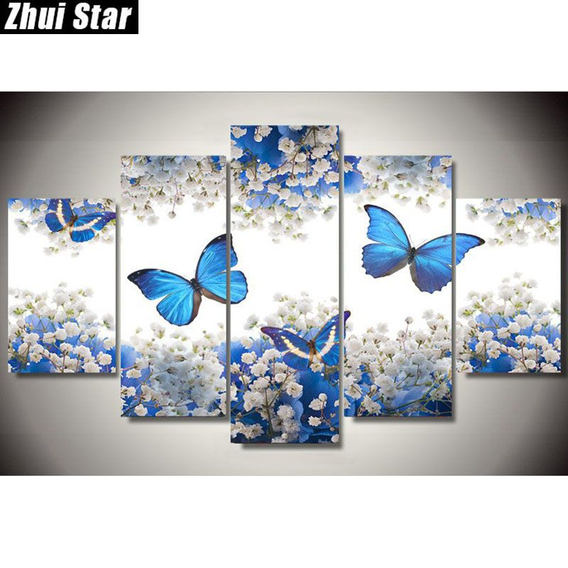 Zhui Star 5D DIY Full Square Diamond Painting butterfly Multi-picture <font><b>Combination</b></font> Embroidery Cross Stitch Mosaic Decor gift