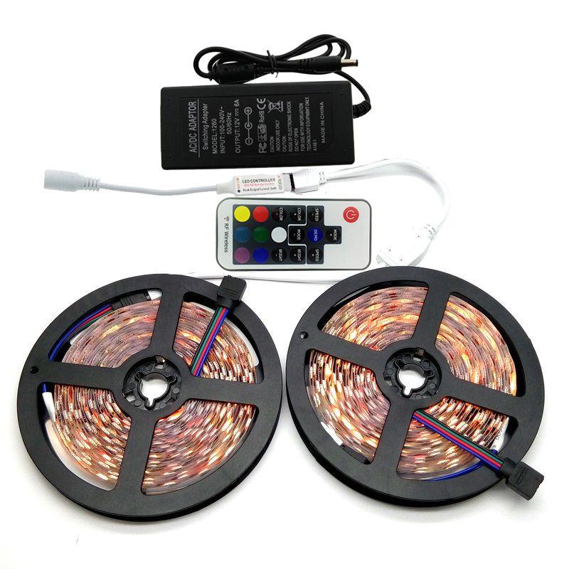 10M SMD 5050 RGB LED Strip Set 60LED/M Home Decoration Lighting Flexible Tape 17Keys RF Controller 12V 6A Power Adapter