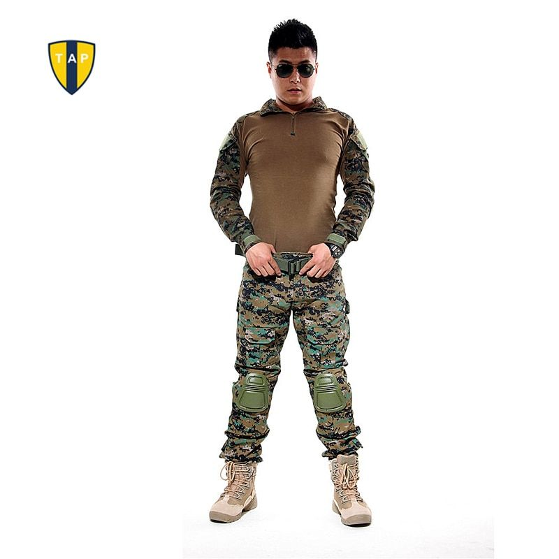 US Tactical Camouflage Army Suit Military Uniform Combat Shirt Multicam Militar Shirts Knee Pad Pants Paintball Hunting Clothes