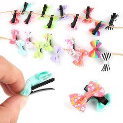 ELECOOL 10 pcs Mini Arc Hairgrips Doux Filles Solide Dot/Bande Impression Cheveux Clips Enfants Épingles À Cheveux Styling Outil