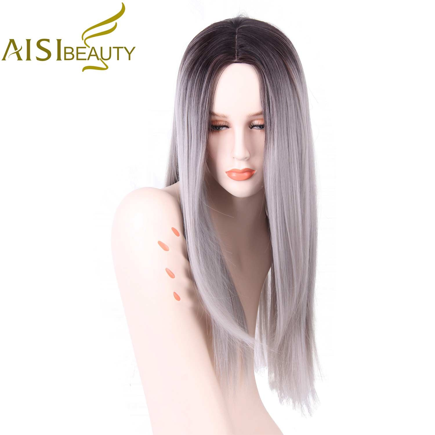 AISI BEAUTY Grey Red Pink Ombre Black Wig Synthetic Wigs for Women Long Straight False Hair