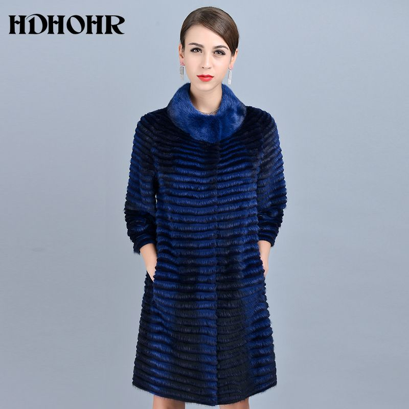 HDHOHR 2018 High Quality Knitted Mink Fur Coats Fashion Natural Mink Fur Jackets Winter For Female Warm Long Genuine Fur Parkers