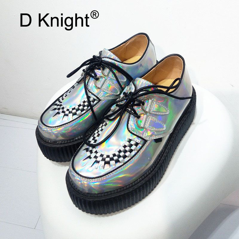 Spring Autumn 2018 Fashion Silver Laser Hologram Women Goth Punk High Platform Flat Creepers Shoes HARAJUKU Creeper Woman Girls