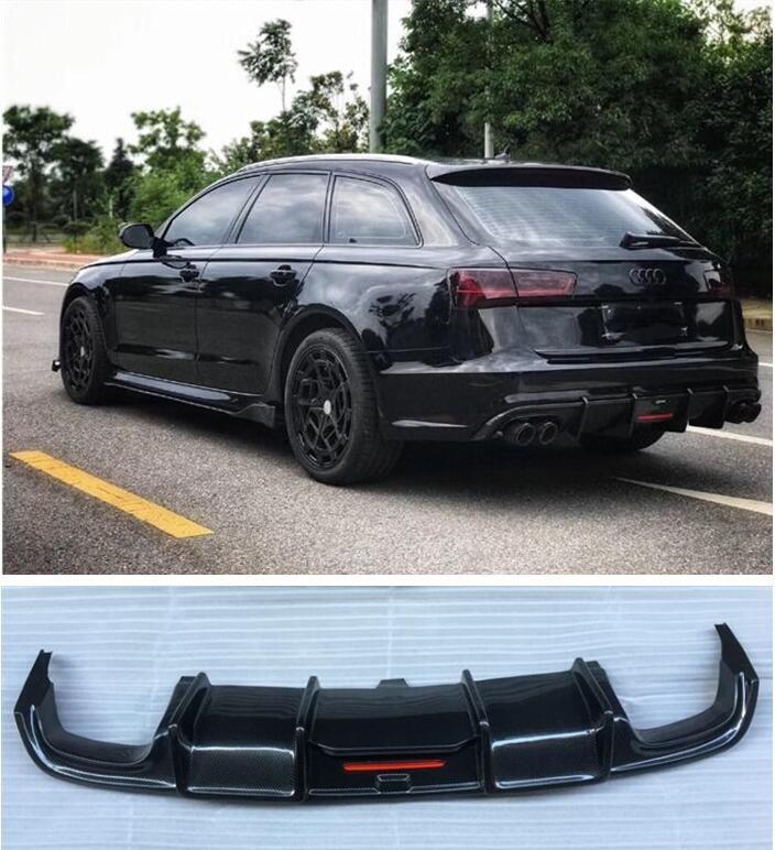 Carbon fiber Hinten Lip Spoiler Diffusor Abdeckung Für AUDI A6 S6 RS6 Avant/Allroad 2015 2016 2017 2018 (mit Lampe)
