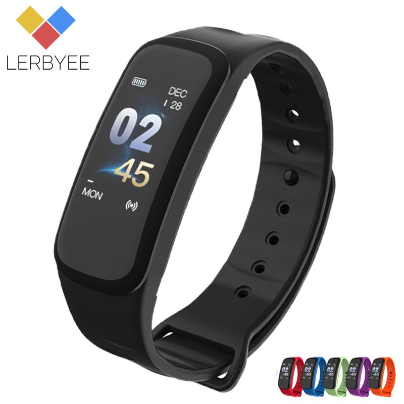 Lerbyee C1Plus Smart Bracelet Color Screen Blood Pressure Fitness Tracker Heart Rate Monitor Smart Band Sport for Android IOS