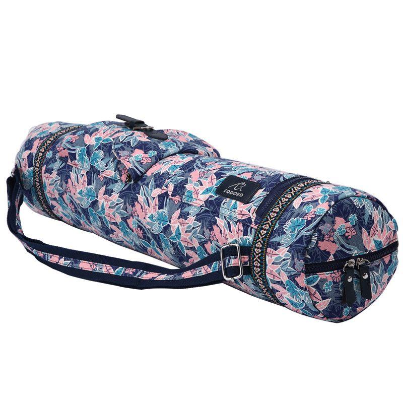 Rosa Blatt Yoga-Matte Einstellbare Trommel Tasche Sport Rucksack Fitness Gym Umhängetasche Frauen Mädchen Tanzen Pilates Pad Taschen