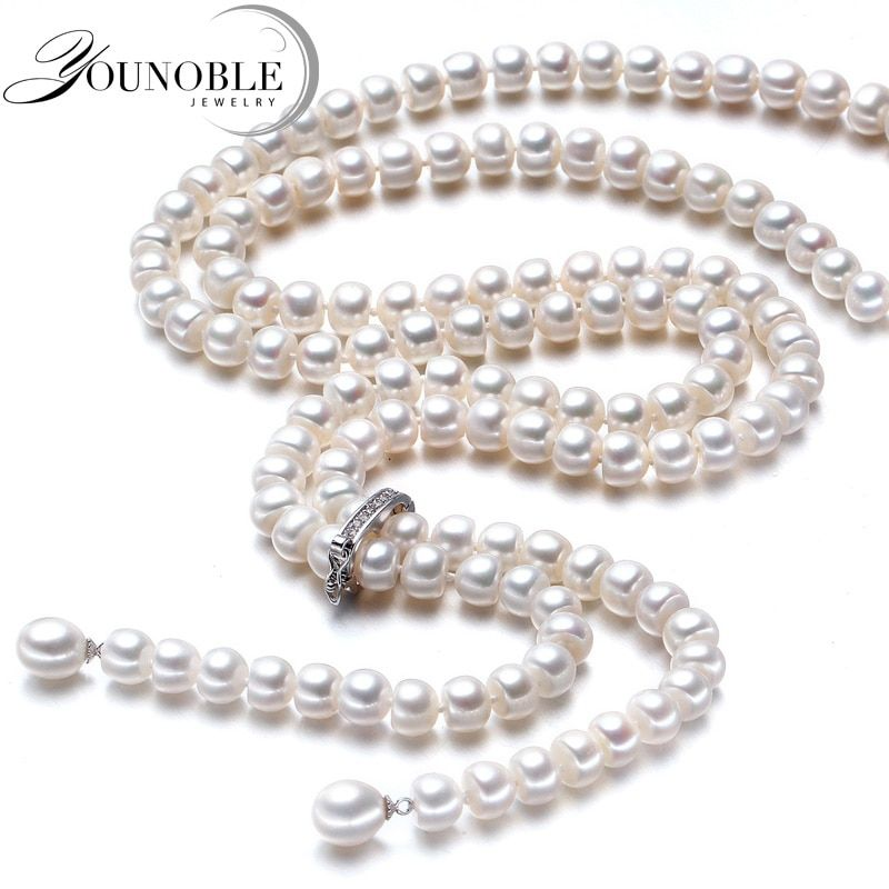 900mm long pearl necklace women <font><b>wedding</b></font> real Freshwater,925 silver natural bridal white pearl necklaces mother for girls jewelry