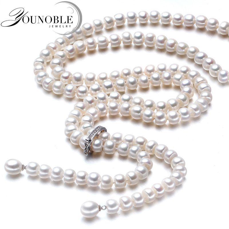 900mm vintage réel long collier de perles femmes, filles bijoux 925 argent naturel mariée d'eau douce blanc perle colliers mère
