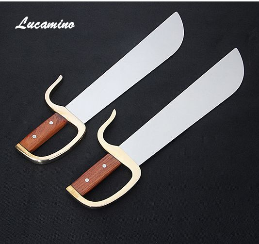 No edge eight cutter double knives Wing Chun butterfly sword Yongchun performing martial arts knife, wooden copper handle