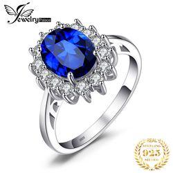 Jewelrypalace Dibuat Biru Cincin Safir Putri Mahkota Halo Pertunangan Pernikahan Cincin 925 Sterling Cincin Perak untuk Wanita 2019