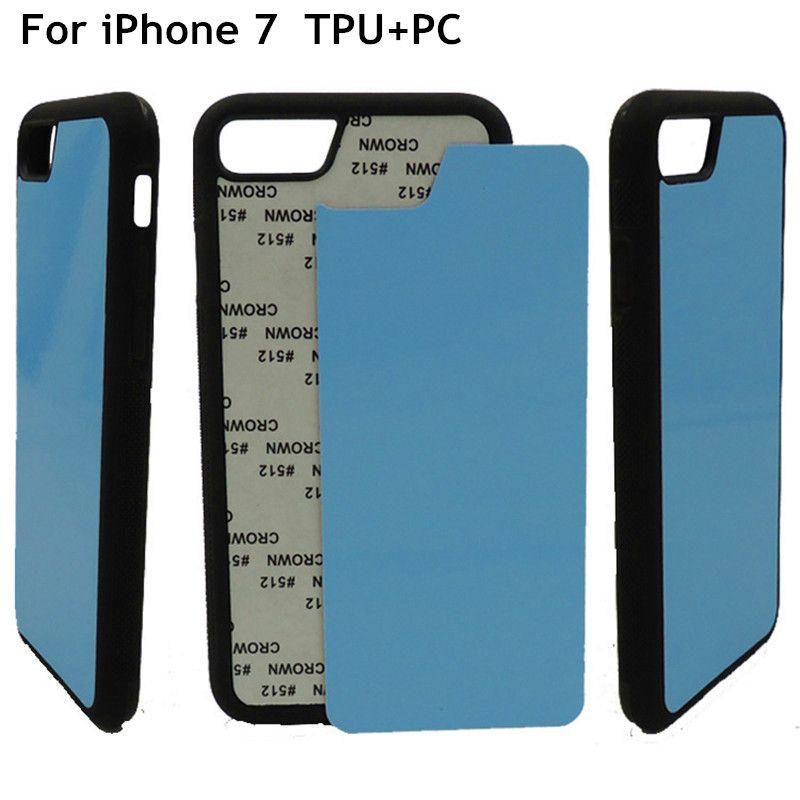 HZP-10pcs/lot 2D Sublimation blanc TPU Couverture de Cas Pour l'iphone 7 8 Couverture Arrière Inserts En Aluminium et Colle