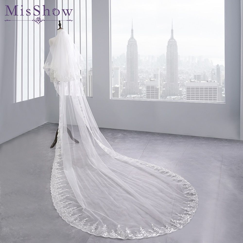 Free ship 3 M White Cathedral Wedding Veils Long Lace Edge Bridal Veil with Comb Ivory Wedding Accessories 2 Layers Wedding Veil